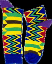 Fair trade kubolor kente pattern cotton socks from Ghana