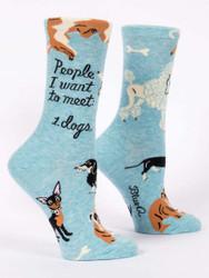 People I want to meet dogs womens crew socks blueq