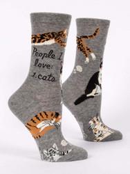 People I love cats womens crew socks blueq