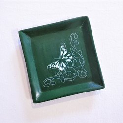 fair trade carved soapstone dish with butterfly from Kenya
