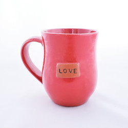 Fair trade ceramic love mug from Haiti