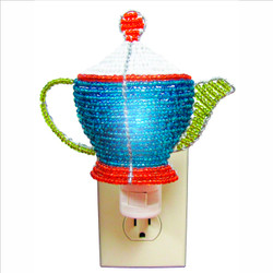Fair trade beaded teapot night light from Haiti