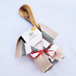Ten Bean soup mix with olivewood spoon and kitchen towel