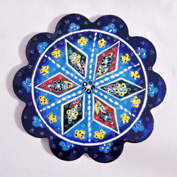 fair trade scalloped edged ceramic trivet from turkey