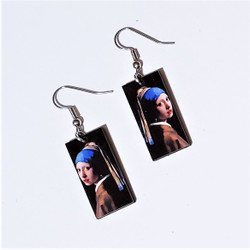 Fair Trade Eucalyptus Wood Dangle Earring with Girl with Pearl Earrings by Vermeer from Guatemala