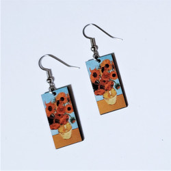 Fair Trade Eucalyptus Wood Post Earring with Vase of Sunflowers by Vincent Van Gogh from Guatemala