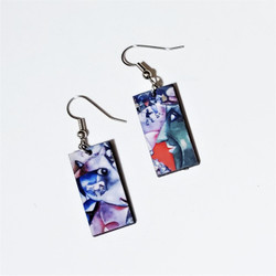 Fair Trade Eucalyptus Wood Dangle Earring with I and the Village by Marc Chagall from Guatemala