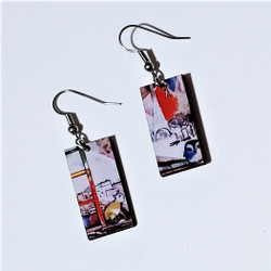 Fair Trade Eucalyptus Wood Dangle Earring with Paris Through the Window by Marc Chagall from Guatemala