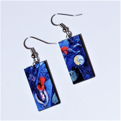 Fair Trade Eucalyptus Wood Dangle Earring with the Blue Circus by Marc Chagall from Guatemala