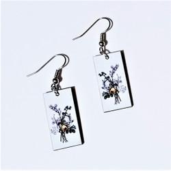 Fair trade flower bouquet on eucalyptus wood dangle earring from Guatemala