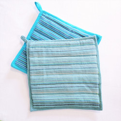 Fair trade woven cotton potholder from Nepal