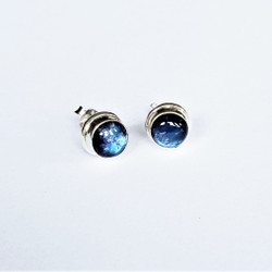 Fair trade blue moonstone and sterling silver post earrings from Nepal