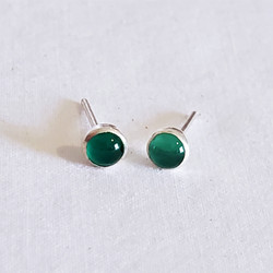 fair trade green moonstone and sterling silver stud earrings from Nepal