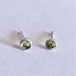 Fair trade peridot and sterling silver stud post earring from Nepal