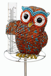 Fair trade beaded owl rain gauge from Haiti