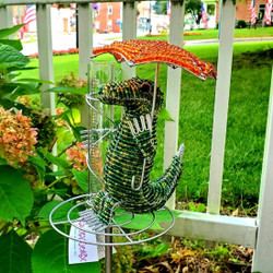 Fair trade beaded alligator rain gauge from Haiti