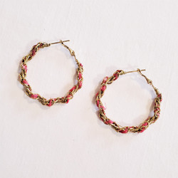 fair trade upcycled kantha sari hoop earrings from India