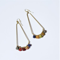 fair trade upcycled kantha sari bead earrings from India