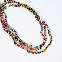 fair trade upcycled sari necklace from India