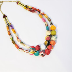 fair trade upcycled kantha sari necklace from India