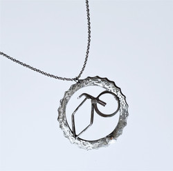 fair trade recycled metal bicycle pendant necklace from Lesotho