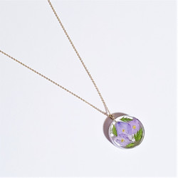 fair trade larkspur eco resin and gold plated necklace from Colombia