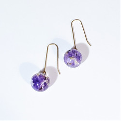 fair trade eco-resin and statice petal dangle earrings from Colombia