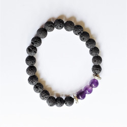 Fair trade lava stone and amethyst stretch stacking bracelet from China
