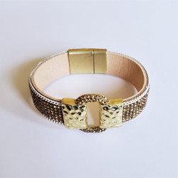 Fair trade gold crystal magnetic closure bracelet from China