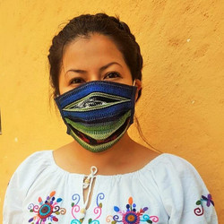 Bright Stripe Reusable Pleated Style Cotton Ikat Face Mask from Guatemala