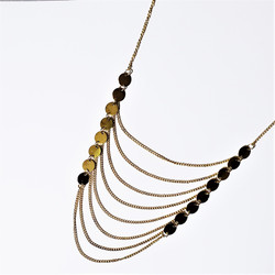 Fair trade brass disc and chain necklace from India