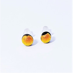 fair trade orange dichroic glass stud earrings from Chile