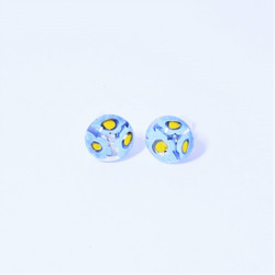 fair trade glass millefiore post earring from Chile