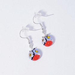 fair trade glass millefiore dangle earring from Chile