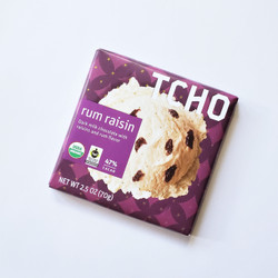 fair trade TCHO rum raisin chocolate bar