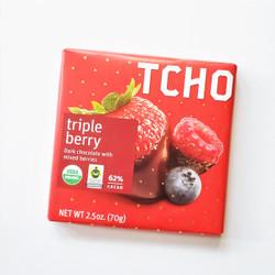 fair trade TCHO triple berry chocolate bar