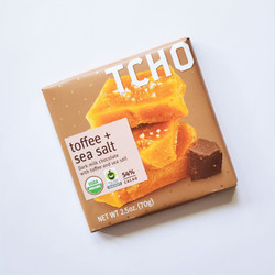 Fair Trade Tcho toffee and sea salt chocolate bar