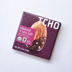 Fair trade TCHO sea salt and almond chocolate bar