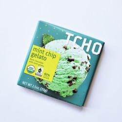 Fair trade TCHO mint chip gelato chocolate bar