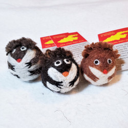 fair trade felted wool hedgehog cat toy from Kyrgyzstan