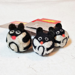 fair trade felted wool mouse cat toy from kyrgyzstan