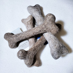fair trade felted wool dog bone from Mongolia