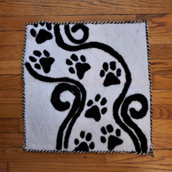 fair trade felted wool pet mat from Mongolia