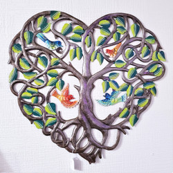 Fair Trade Recycled Steel Drum Tree of Life Wall Hanging with Birds and Flowers from Haiti