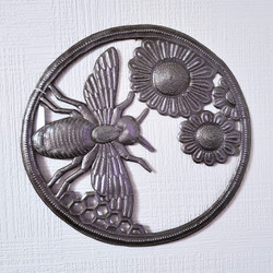 Fair trade recycled steel drum honey bee wall hanging from Haiti