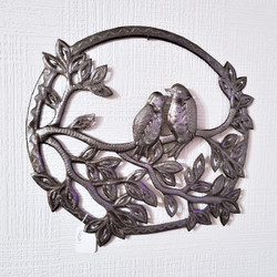 Fair trade recycled steel drum lovebirds wall hanging from Haiti