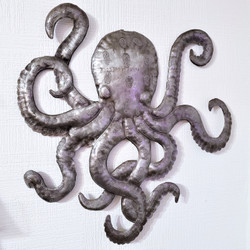 fair trade recycled steel drum octopus wall art from Haiti