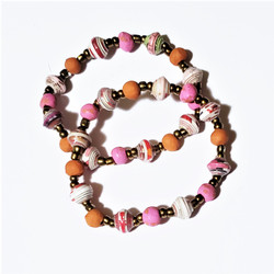 Fair trade clay and rolled paper bead bracelet from Haiti