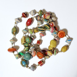 Fair trade ceramic and rolled paper bead necklace from Haiti