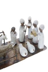 Fair trade springstone and metal nativity set from Zimbabwe